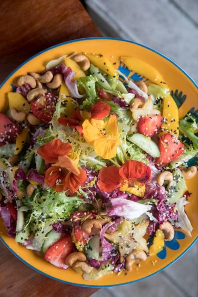Aloha: a salada de folhas frescas com frutas, pepino e castanha-de-caju (R$ 39,00) é opção refrescante de entrada