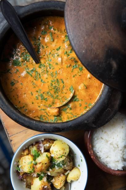 Azur: o estrogonofe ganha uma deliciosa versão de camarão com açafrão e páprica (R$ 160,00, para duas a três pessoas)