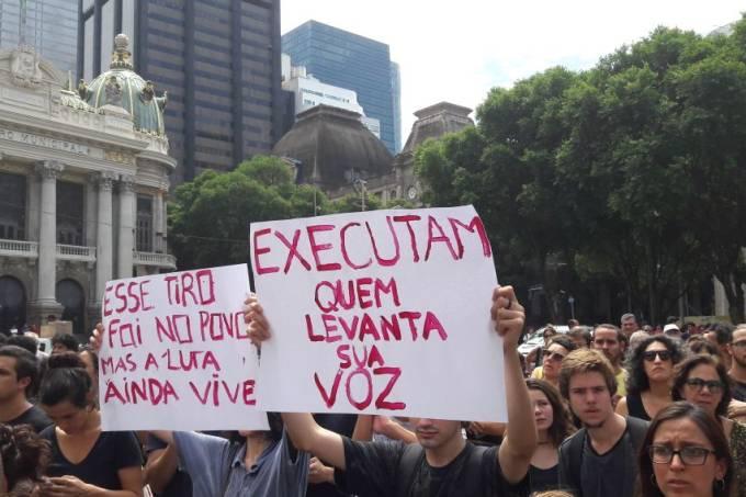 Ato contra assassinato da vereadora Marielle Franco na Cinelândia