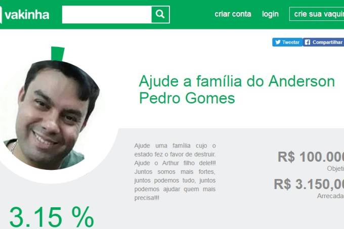 vaquinha motorista Anderson Gomes