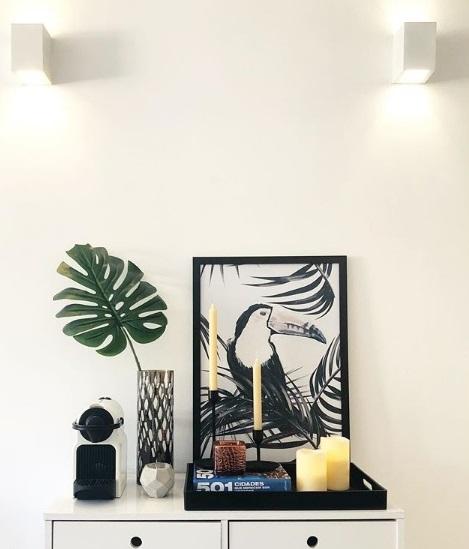 Apartamento 921, na Lapa e no Instagram (@apartamento921): o quadro de tucano e a folhagem natural também estão na sala