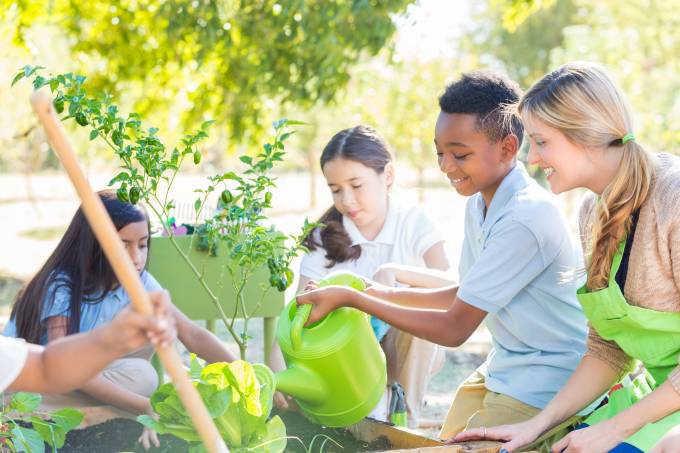 Elementary students planting vegetables in school garden for science class