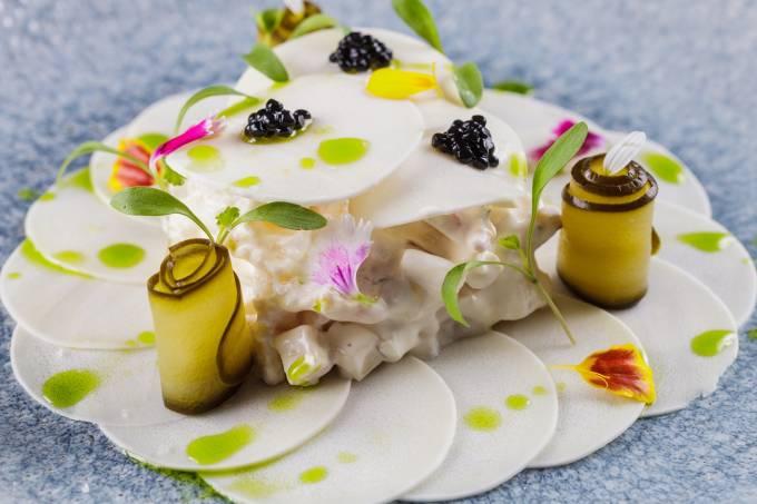 L'Atlier Mimolette; salada de lagosra