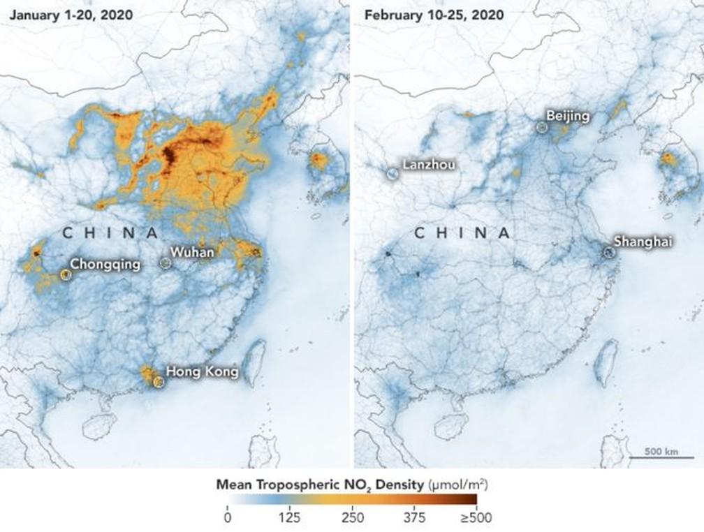Imagens de satélite da China (Foto: Twitter Nasa/ Reprodução)