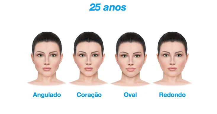 25 anos - As diferentes fases do envelhecimento dos quatro principais formatos de rostos feminino