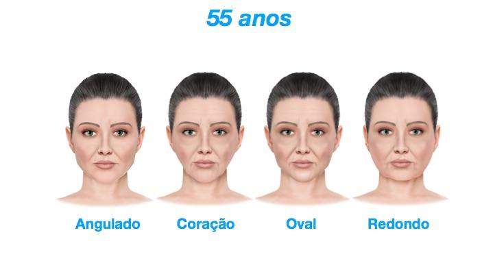 55 anos - As diferentes fases do envelhecimento dos quatro principais formatos de rostos feminino