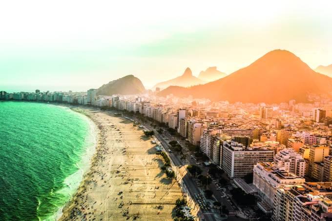 Copacabana area of Rio De Janeiro as seen from above