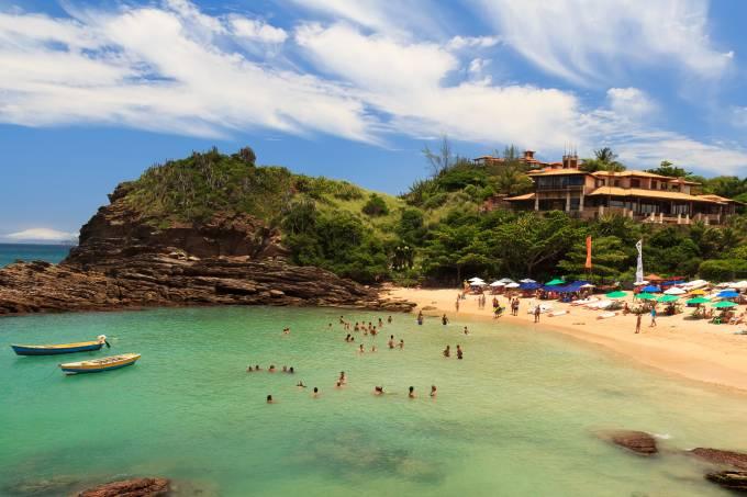 Small peaceful beach sea Ferradurinha in Buzios  Rio de Janeiro,