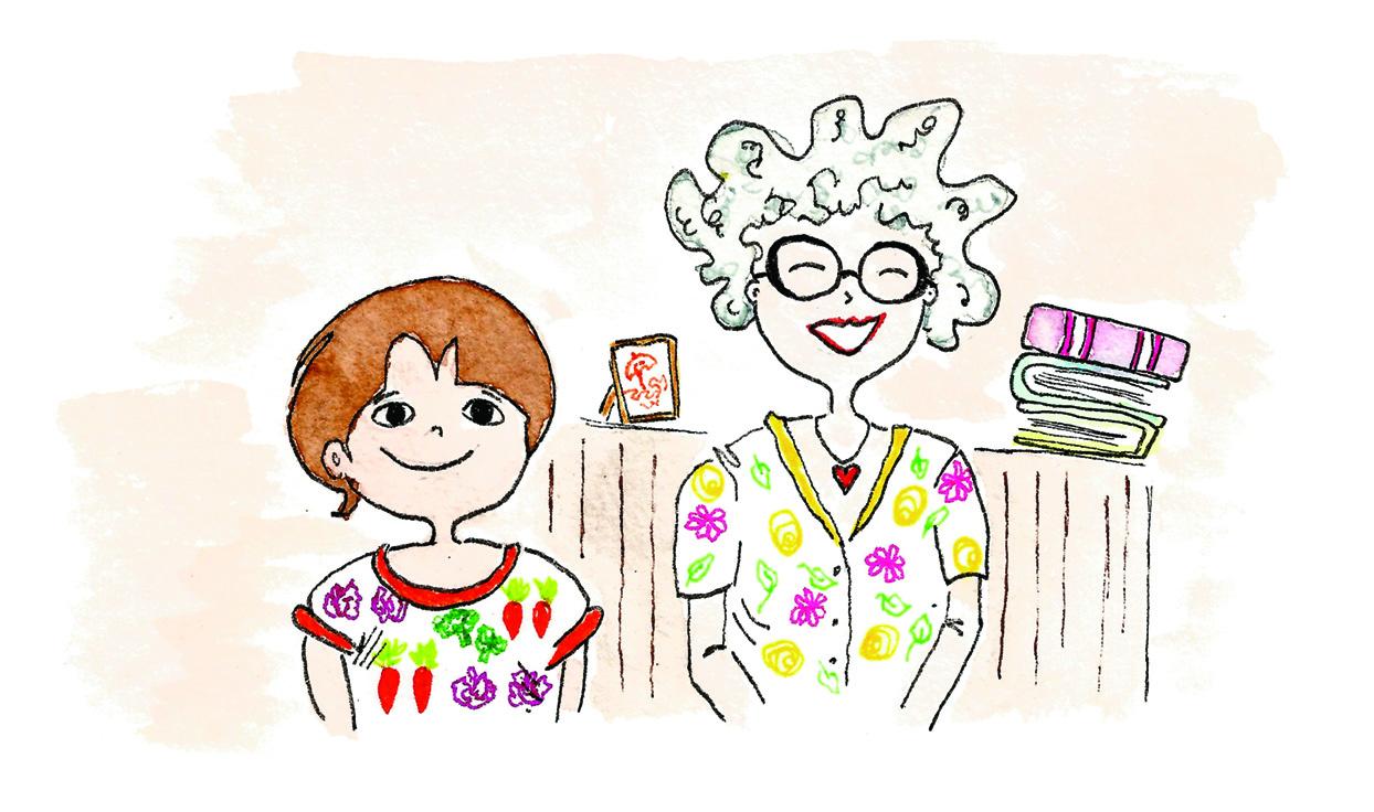 ilustração mostra menino e uma senhora sorrindo
