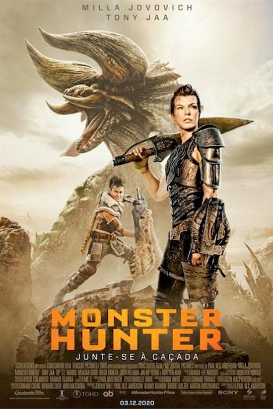 Cartaz do filme Monster Hunter mostra Milla Jovovich, vestida com armadura de guerreira, um outro guerreiro ao fundo e a imagem de um monstro