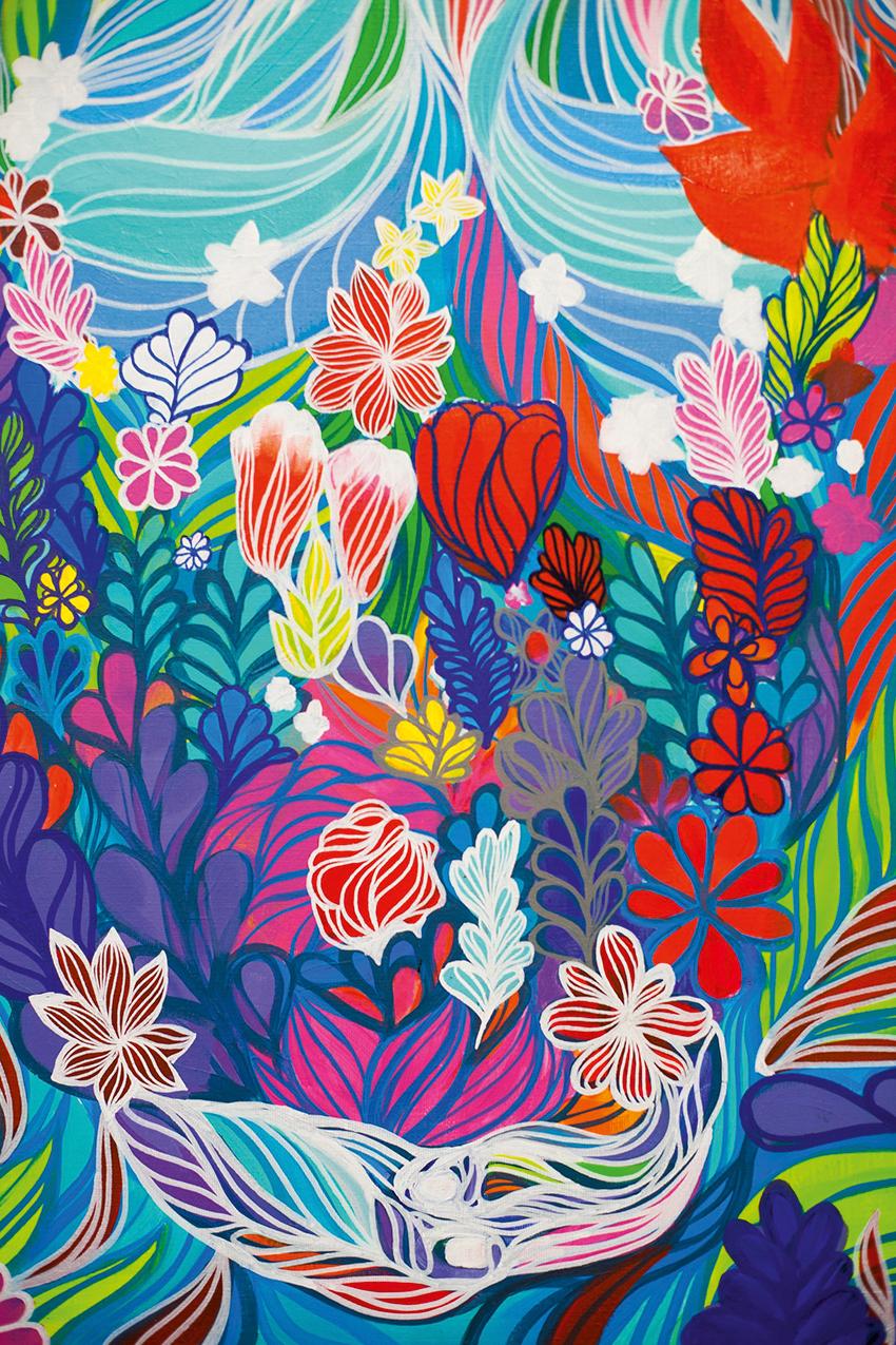 quadro de bruno big com flores e linhas multicoloridas