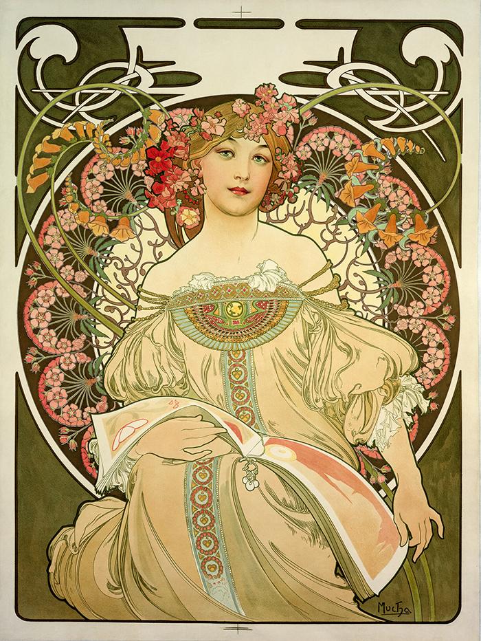 Cartaz mostra desenho de mulher ornamentada com flores em tons pastel