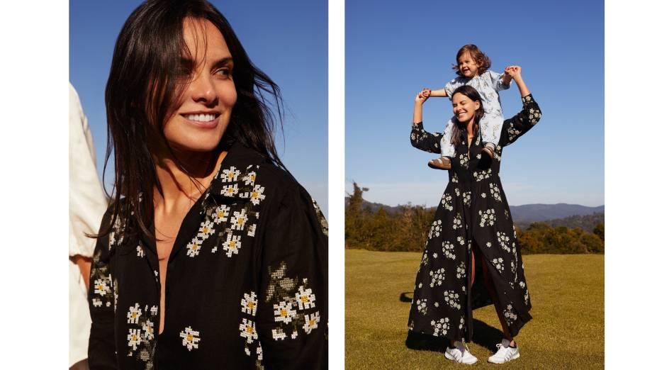 Cris Barros e a filha, Gaia, na campanha Margaritas da grife da estilista