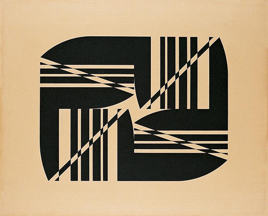 quadro abstrato com imagens geométricas na cor preta, em fundo bege