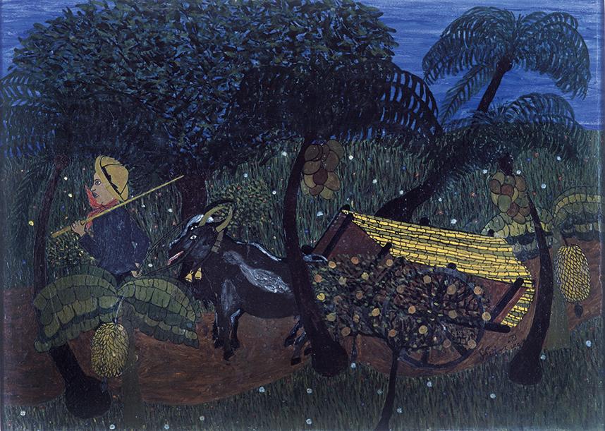 Quadro de Heitor dos Prazeres mostra homem em carroça, em tons escuros