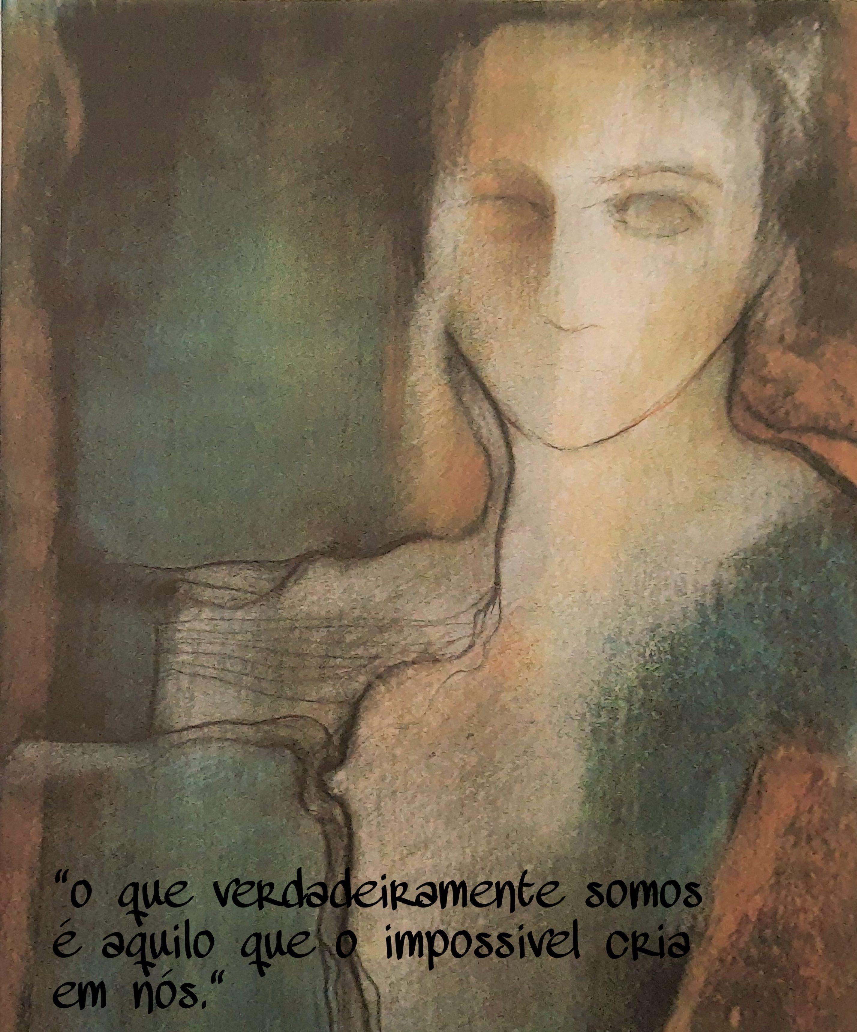 Pintura de mulher com rosto um tanto abstrato