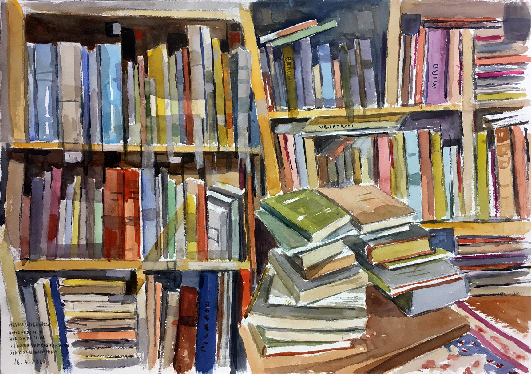 Pintura em aquarela mostra um biblioteca, com livros de diferentes cores e tamanhos