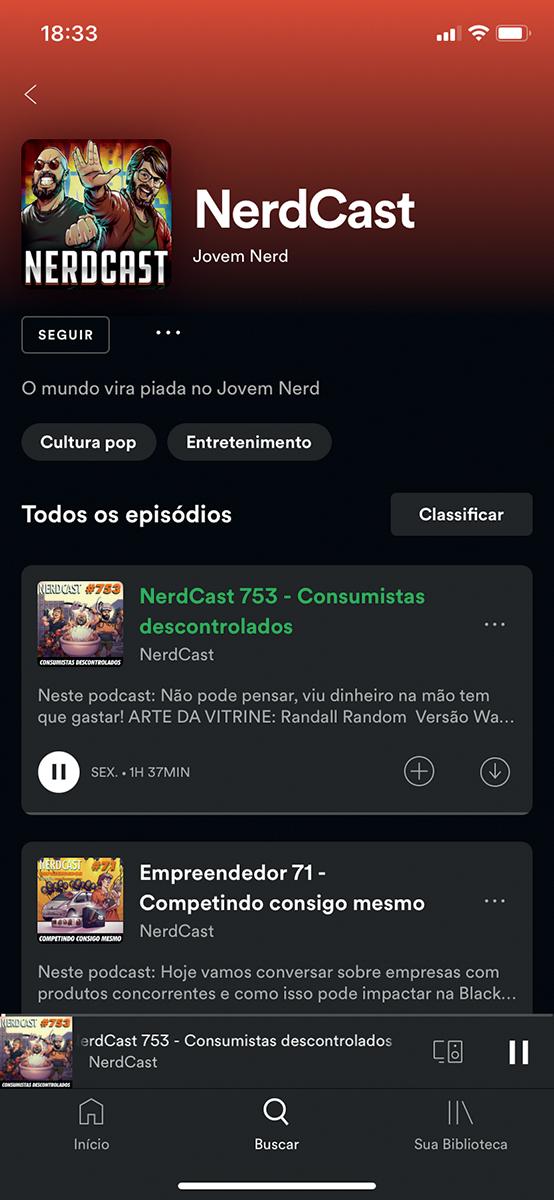 Print da tela do Spotify com os episódios do Nerdcast