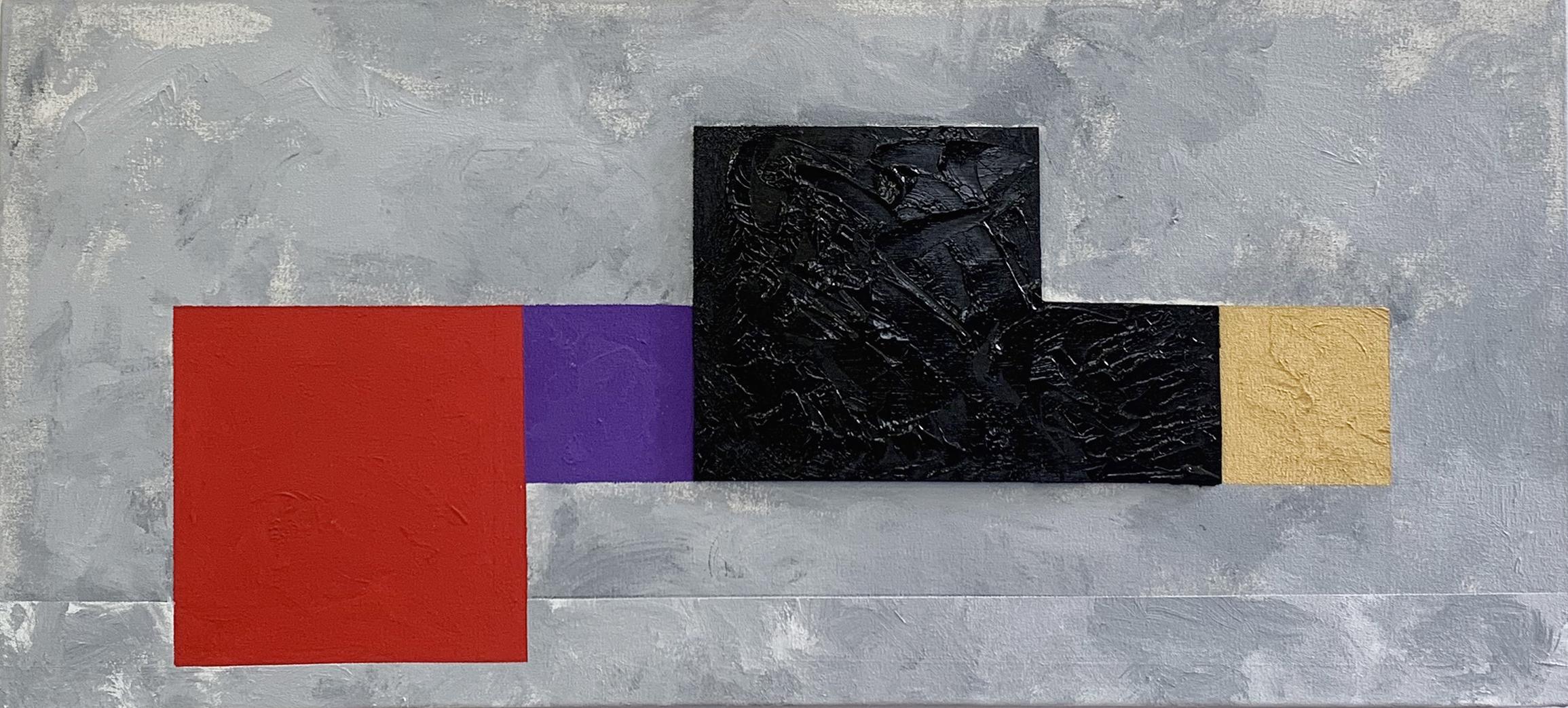 Pintura em fundo cinza tem formas geométricas em vermelho, roxo e preto
