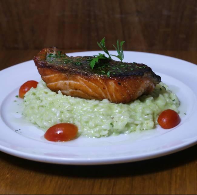 risoto com salmão