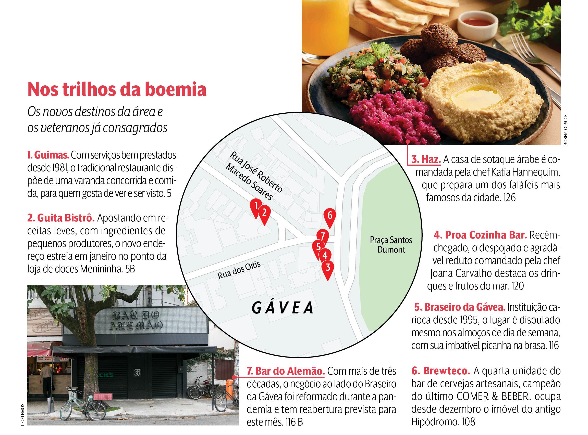 Infográfico mostrando os principais endereços de comida e de bebida do Baixo Gávea