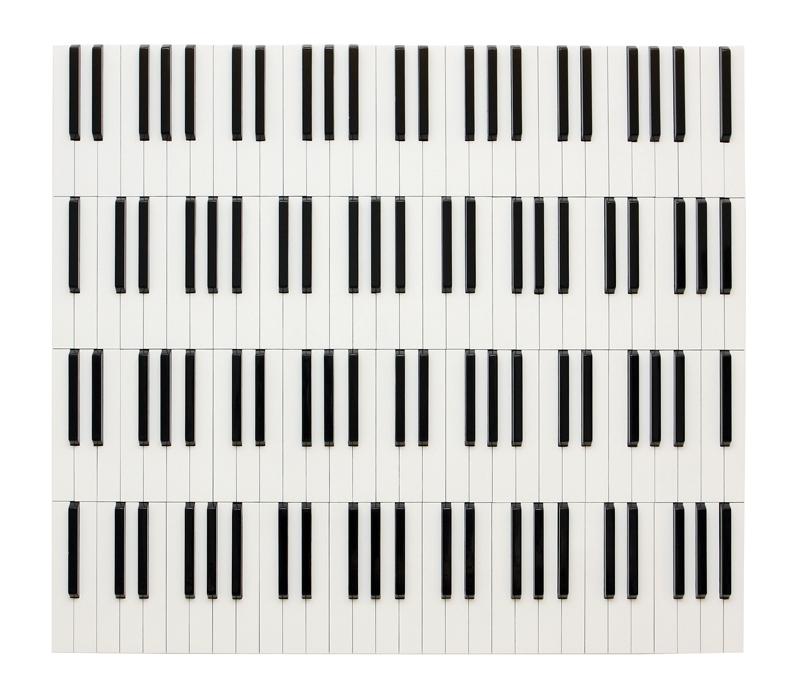 Pintura simula um piano
