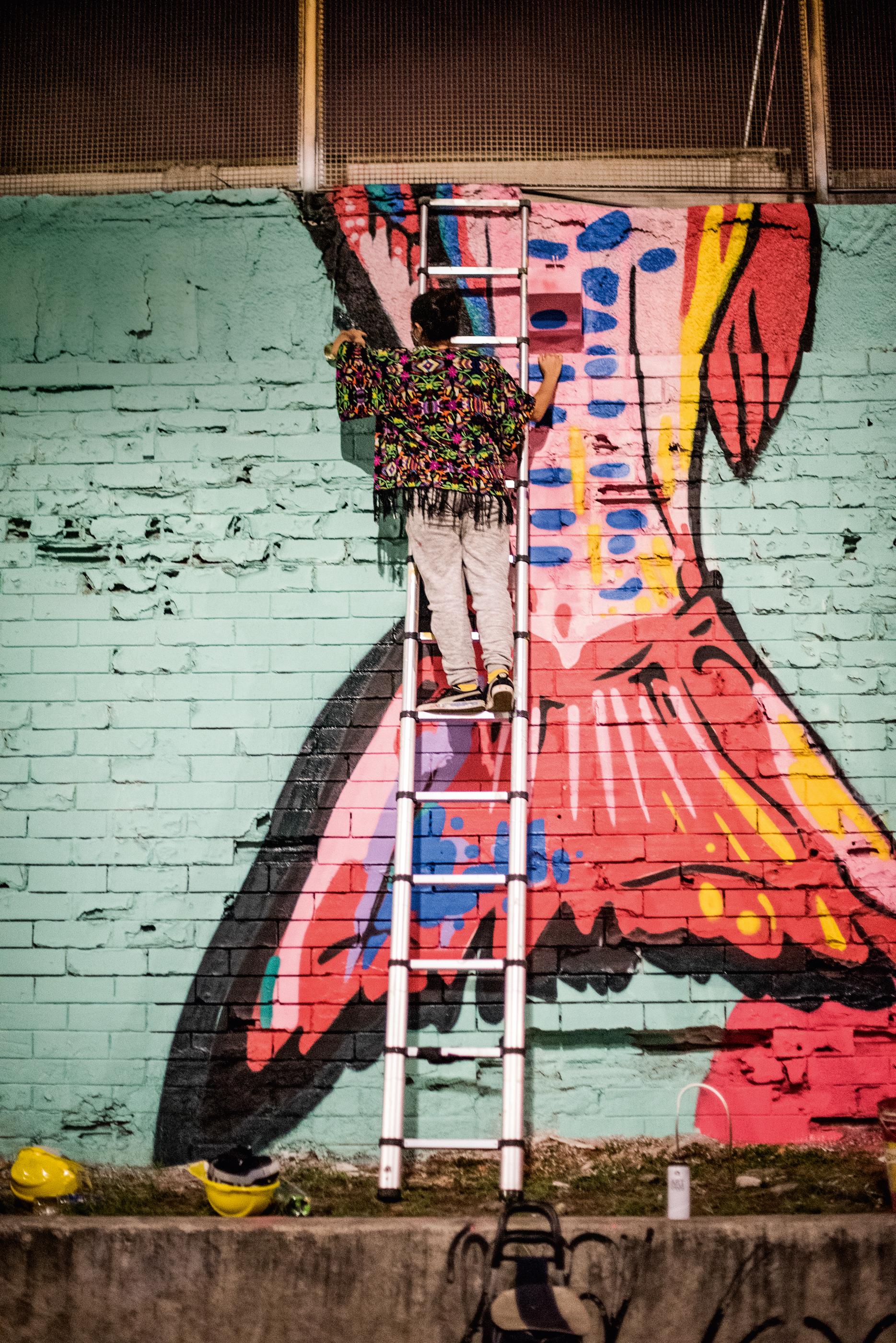 A imagem mostra a grafiteira Dolores Esos numa escada, fazendo arte num muro