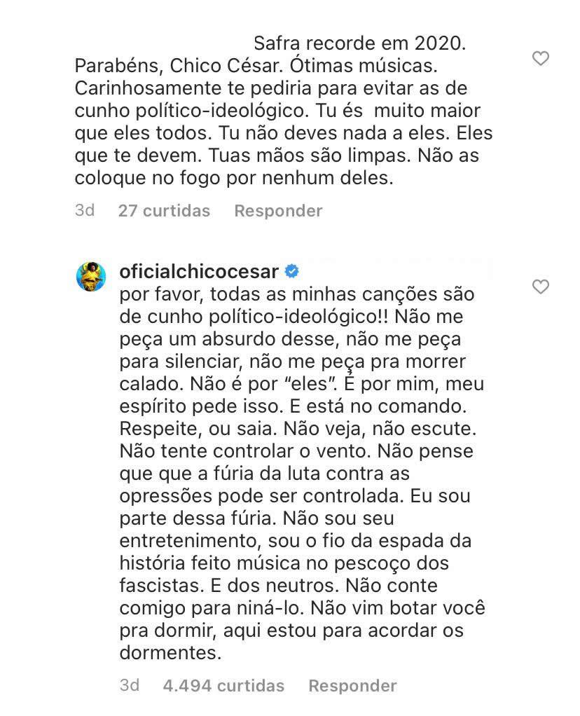 Print dos comentários do Instagram de Chico César que estão transcritos na reportagem