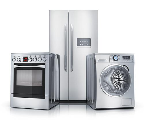 fogão, geladeira e máquina de lavar roupa em inox