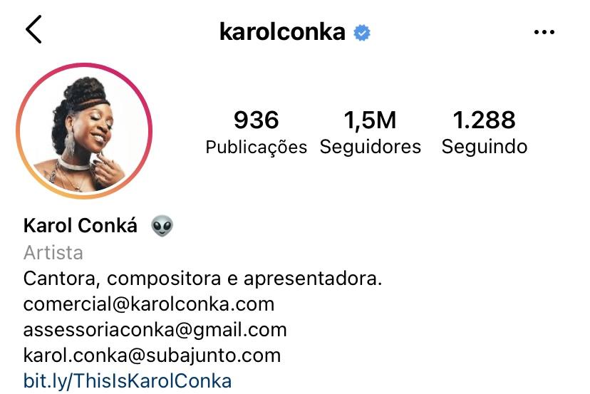 A imagem mostra a pagina inicial de karol conka no instagram