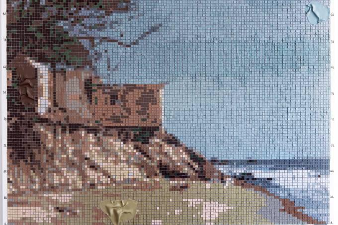 Jeane Terra_Pele Mirada, 2020 Pintura seca feita em montagem de quadrados de 1x1cm em pele de tinta sobre tela 105 x 131 cm_crédito Vicente de Mello