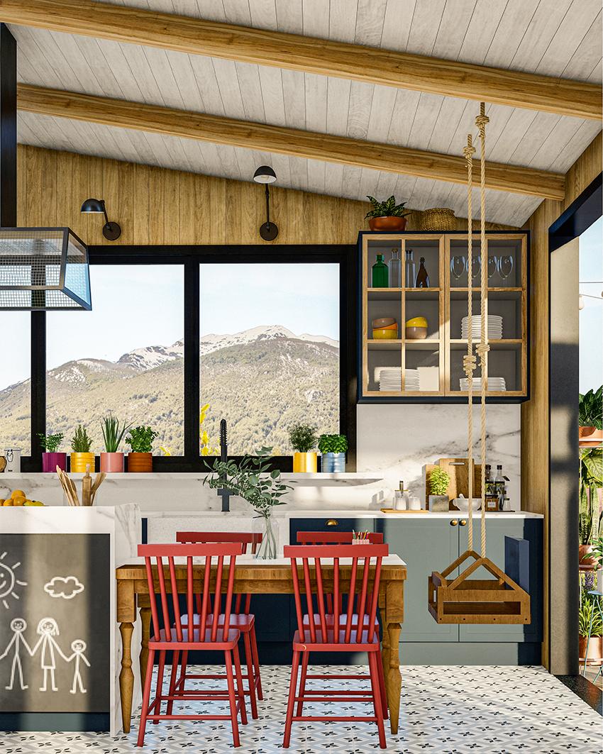 A imagem mostra uma cozinha decorada com quadro-negro e balanço
