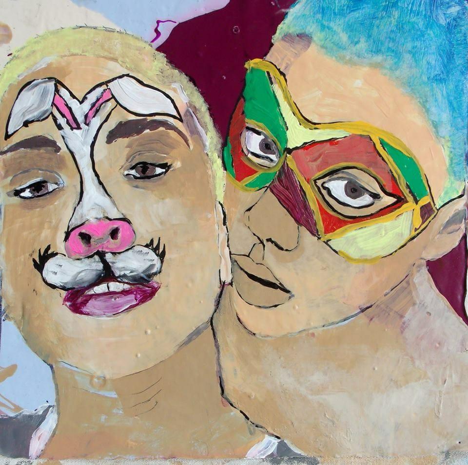 Pintura de dois jovens fantasiados no carnaval