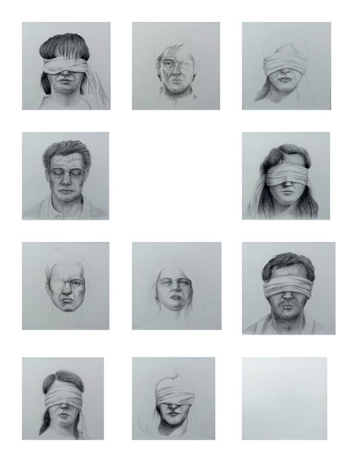 Desenhos de pessoas violentadas e um espelho no meio