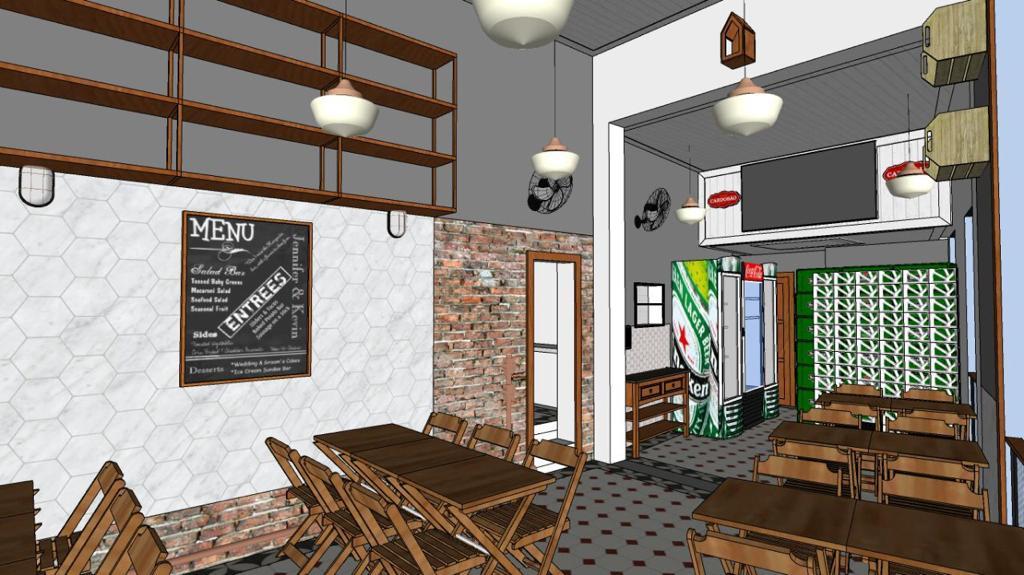 Em 3D, um estudo de como ficará o bar