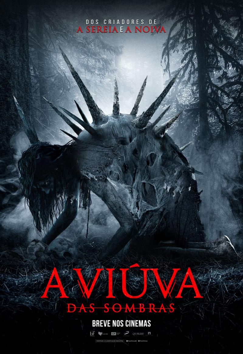Cartaz do filme A Viúva das Sombras com imagem de mulher e alguns espinhos nas costas dela