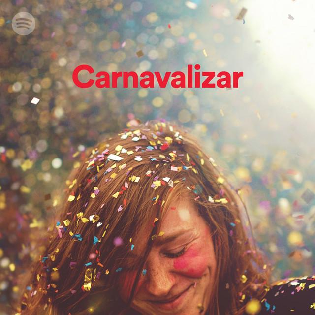 Capa da playlist do Spotify com foto de mulher sob chuva de confete