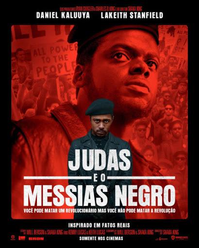 Cartaz do filme Judas e o Messias Negro com Daniel Kaluuyia em tons de preto e vermelho