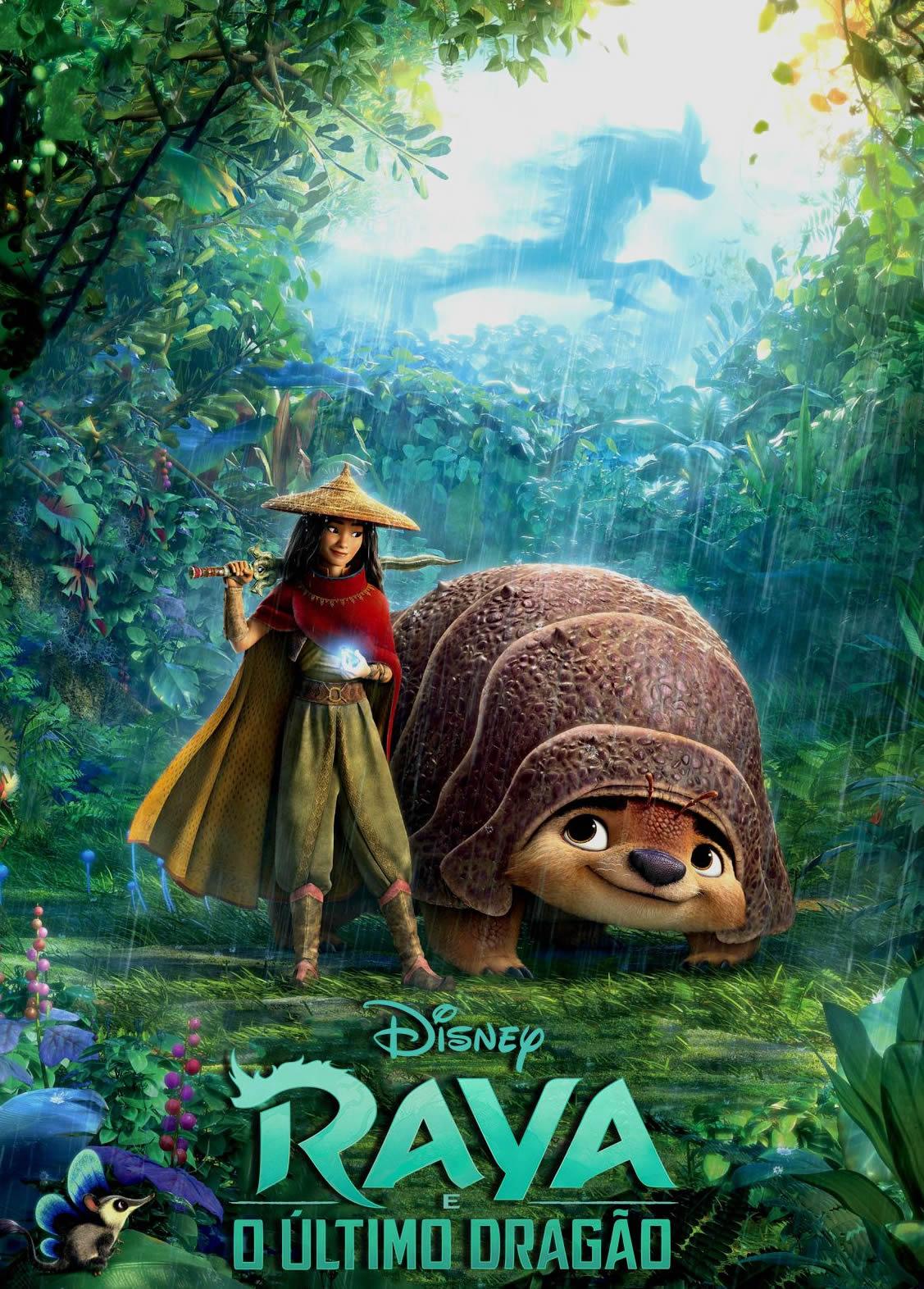Cartaz do filme Raya com animação da menina e um bicho gigante