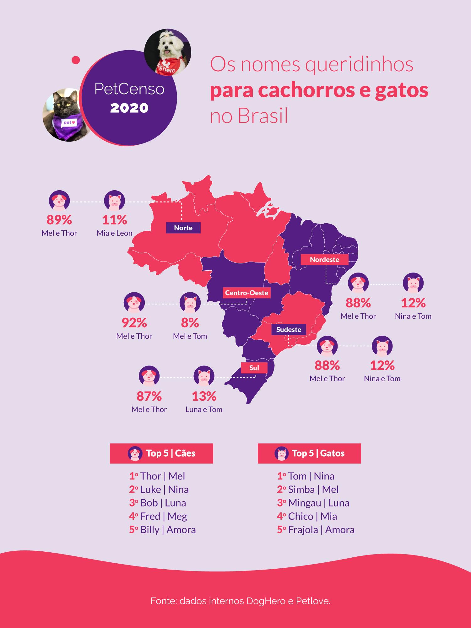 Gráfico mostra os nomes de cães e gatos mais populares no país, além das raças mais queridas do brasileiros