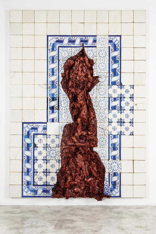 Azulejaria com Incisura Vertical: óleo sobre tela de Adriana Varejão -