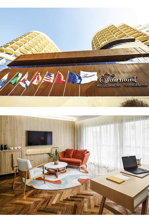 Estação de trabalho: no hotel Fairmont (acima), em Copacabana, parte das suítes foi remodelada como escritório -
