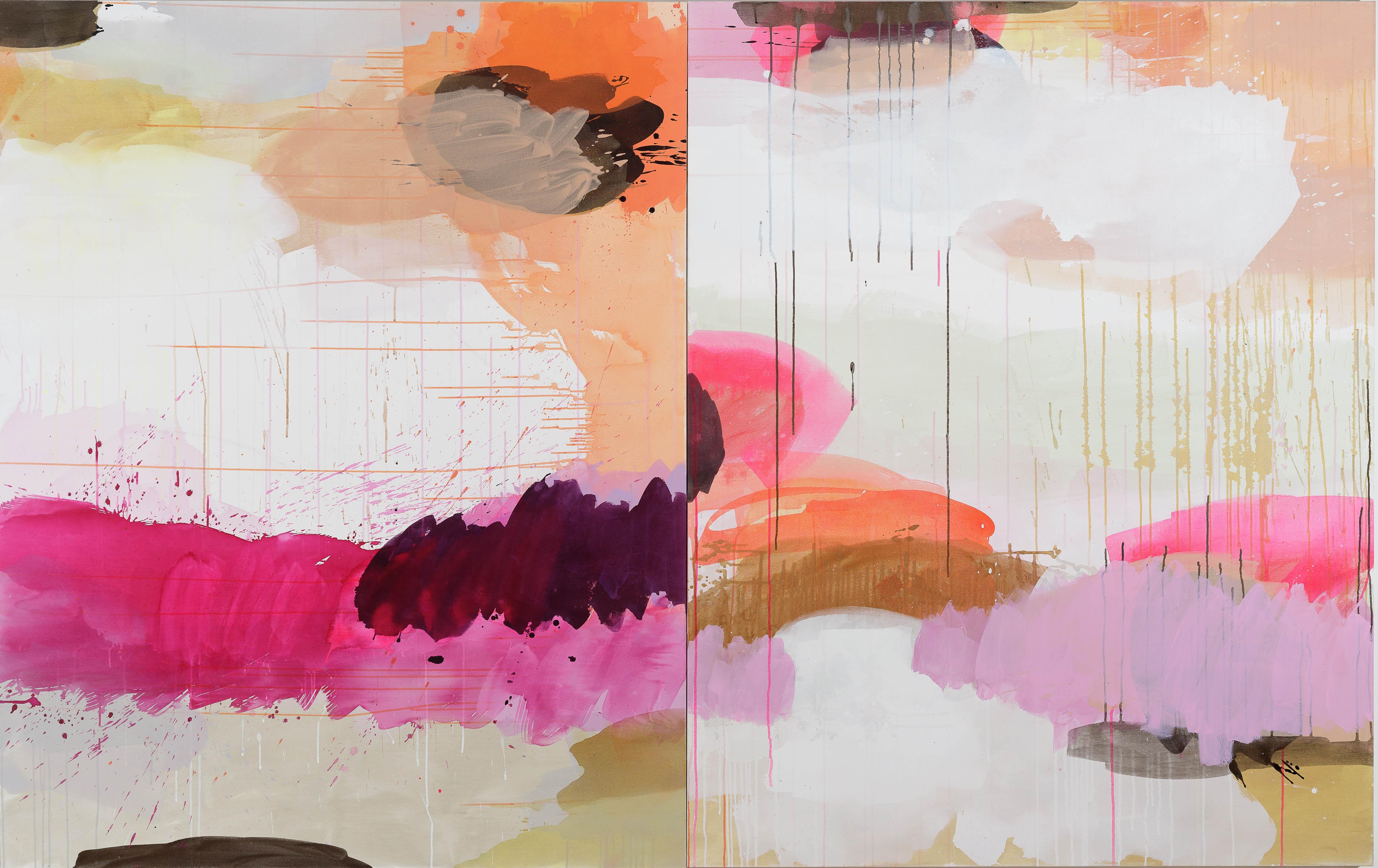 Pintura com tons de rosa, roxo e laranja