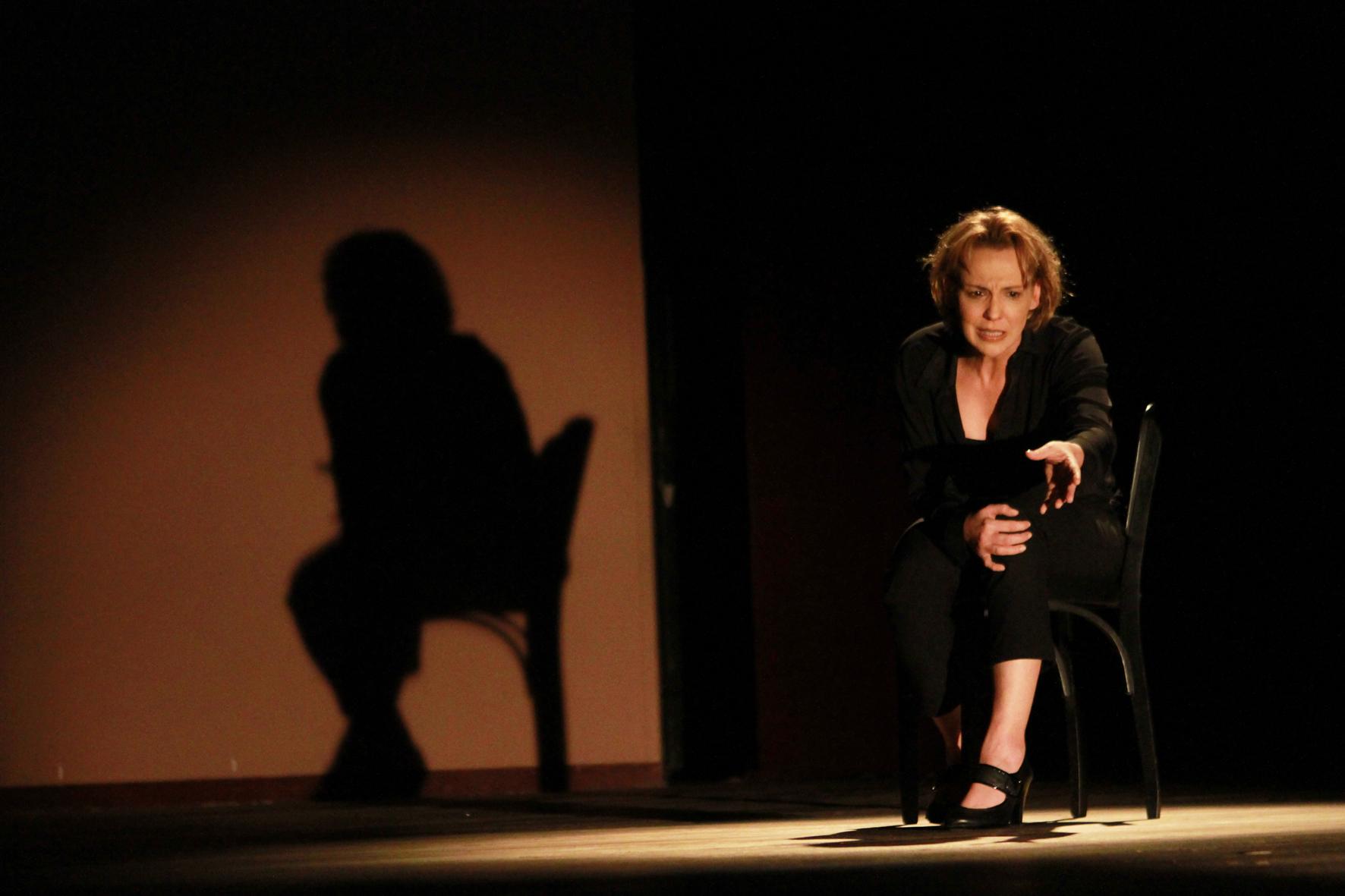 Ana Beatriz Nogueira em cena, sentada numa cadeira, com sua sombra projetada ao lado