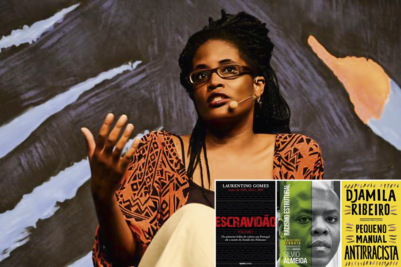 A FILÓSOFA DJAMILA RIBEIRO (acima), autora do Pequeno Manual Antirracista: o livro está no topo da lista dos mais vendidos da Amazon, que traz outros títulos sobre o assunto, como Escravidão e Racismo Estrutural -