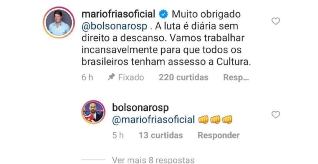 print do instagram que mostra que mário frias escreveu acesso com quatro s