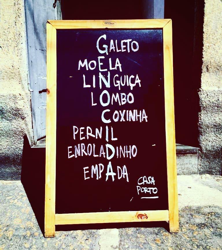 Casa Porto: cardápio do em cartaz