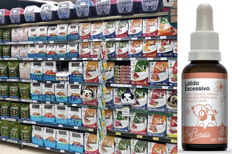 Mercado pet: florais (à dir.) e outros produtos para o bem-estar estão em alta na rede Petz (à esq.)