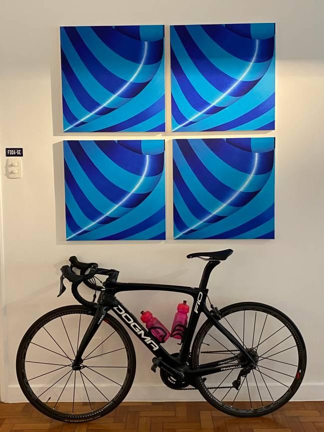 A imagem mostra uma bicicleta no chão e uma quadro na parede.