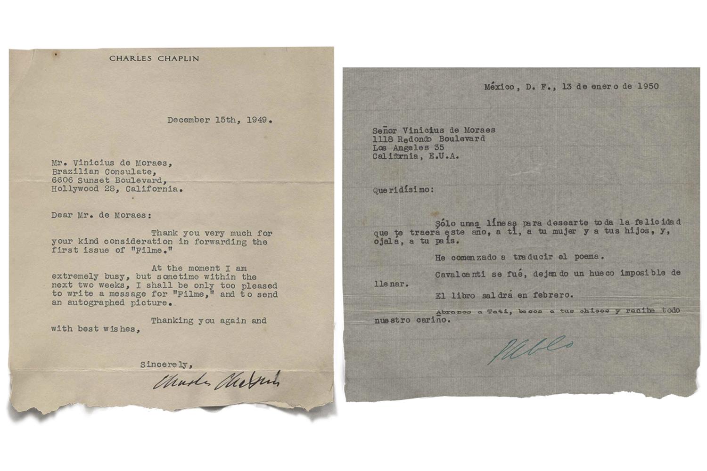 Cartas preciosas: afago do amigo Pablo Neruda e agradecimento de Charles Chaplin -